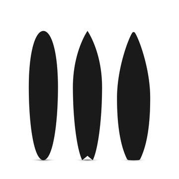 Surfboard set. Black silhouette of surfboard. Vector illustration isolated on white background