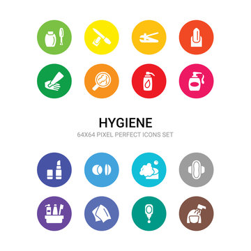 16 hygiene vector icons set included hair washing, hand mirror, handkerchief, hygiene kit, hygienic pad, lather, lens, lip balm, liquid soap, lotion, microbes icons
