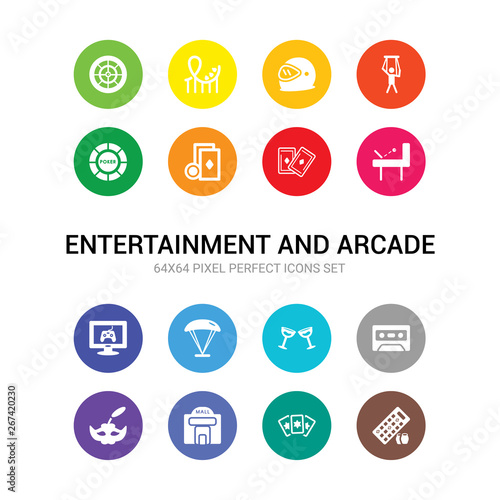 16 entertainment and arcade vector icons set included
