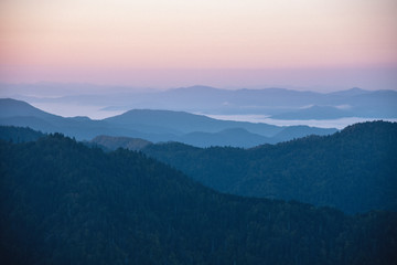 Mount Le Conte in Great Smoky Mountains National Park on the Border of Tennessee and North Carolina