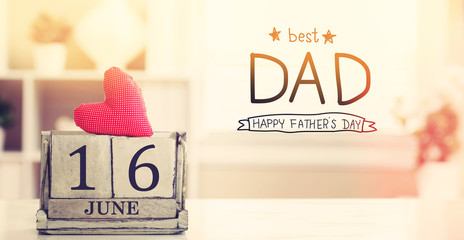 16 June Best Dad message with wooden block calendar