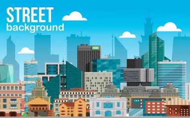 Street city background horizontal banner vector illustration. Modern town skyline. Architectural building in panoramic view. High multi-storey glass buildings of different forms.