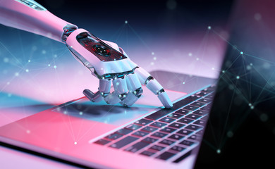 Robotic hand pressing a keyboard on a laptop 3D rendering