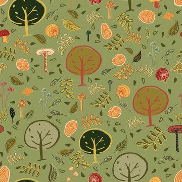 Woodland forest seamless pattern design