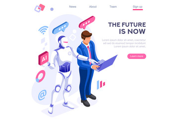 Fototapeta Human interactive tech interaction. Images of robot human working at office, can use for web banner, infographics, hero images. Flat isometric vector illustration isolated on white background obraz