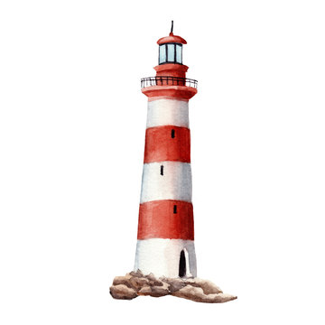 hand drawn watercolor lighthouse isolated on white background