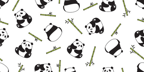 Bear panda seamless pattern vector polar bear bamboo teddy scarf isolated repeat wallpaper tile background cartoon character doodle illustration