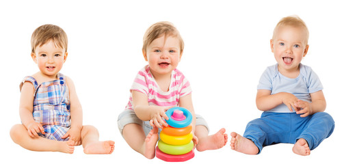 Baby Kids Sitting on White, Beautiful Toddler Children with Toy, one year old