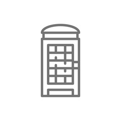 London phone booth, English call box line icon.