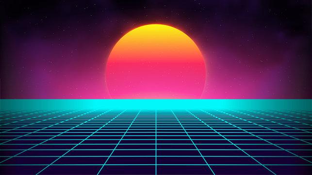 Retro background futuristic landscape 1980s style. Digital retro landscape cyber surface. Retro music album cover template sun, space, mountains . 80s Retro Sci-Fi Background Summer Landscape.