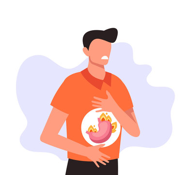 Man character holding abdomen and feel pain. Heartburn and stomach problems concept. Vector flat cartoon graphic design illustration