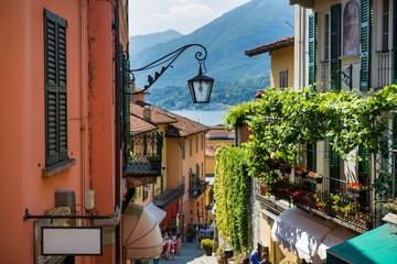 Old street of Salita Serbelloni in beautiful Bellagio, Como lake, Italy
