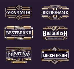 Art deco logos. Geometric hipster ornament frame, vintage line minimal antique border, luxury emblem in retro style. Vector banners engraved badges