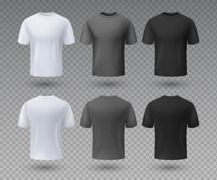 Realistic male t-shirt. White and black mockup, front and back view 3D isolated design template. Vector sport wear and blank uniform labels