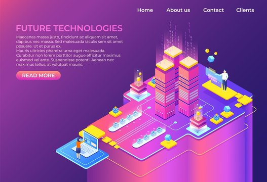 Isometric technology concept. Business 3D background, modern infographic design, futuristic web page. Vector isometric landing page system computer