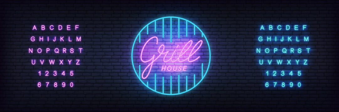 Grill neon template. Glowing lettering grill house sign for bar, pub, restaurant.