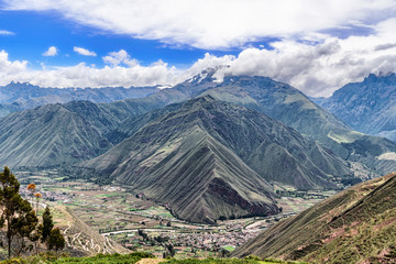 Landscape of the sacred valley as seen from the hill in Chinchero, Peru.