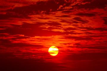 Big sun, Sunset sky background