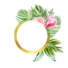 Watercolor tropical leaf illustration. Golden round frame with green exotic plants and flowers on white background.