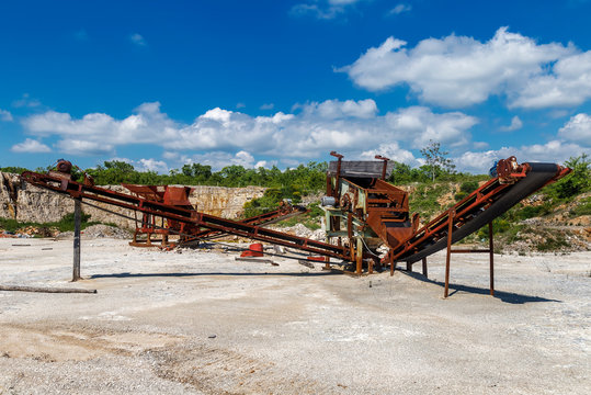 Old rusty crushing machines
