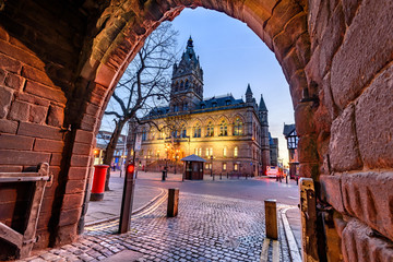 The grey and red sandstone, Gothic style Town Hall with its tower and spire of Chester city, UK. Fotomurales