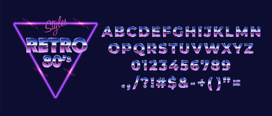 80s retro alphabet font. Metallic gradient effect. Set of type letters and numbers. Vector typeface forprint, poster, t-shirt etc.