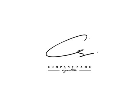 C S CS Signature initial logo template vector