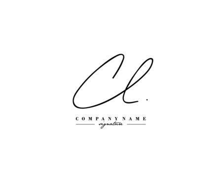 C L CL Signature initial logo template vector
