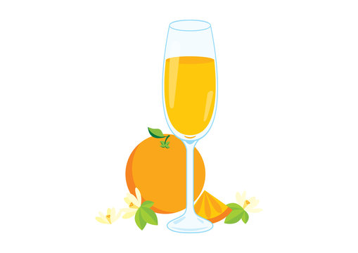Mimosa drink vector illustration. Glasses of champagne with orange vector illustration. Mimosa isolated on a white background vector illustration. Mixed drink with orange juice