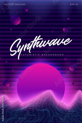 3D Background poster Illustration 80s Scene  Synthwave, retrowave