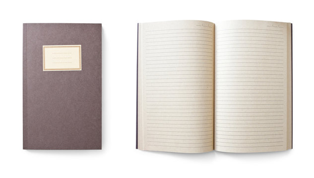notebook isolated on white background, saved clipping path included