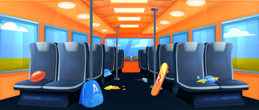 School Bus interior. Seats in transport when traveling at day. Road to vacation. Vector cartoon illustration