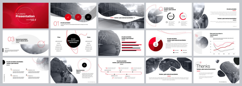 Presentation template. Red Elements for slide presentations on a white background. Use also as a flyer, brochure, corporate report, marketing, advertising, annual report, banner. Vector
