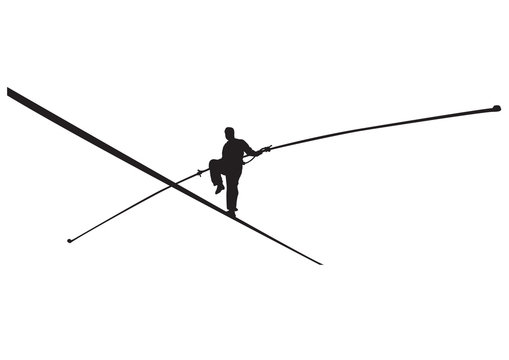Illustration of rope walker isolated.
