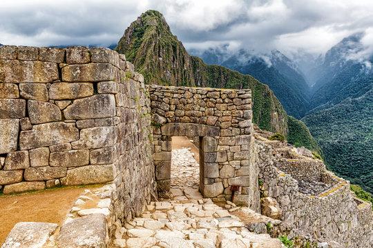 Main Gate to Ancient Incas city of Machu Picchu in Peru.