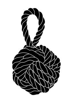 Vector illustration of monkey fist knot isolated.