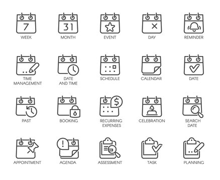 Premium Icons Pack on Time Management Such Line Signs as Calendar, Time and Date, Month. Custom Vector Icons Set for Web and App in Outline Style. Editable Stroke and Customize Pixel Perfect 48x48.
