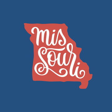 Missouri. Hand drawn USA state name inside state silhouette. Vector illustration.