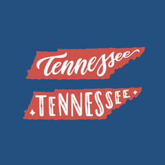 Tennessee. Hand drawn USA state name inside state silhouette. Vector illustration.