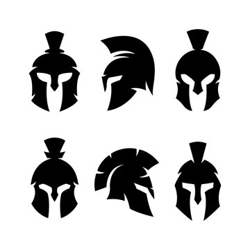 Spartan helmet warrior emblems logotypes set. Vector illustration.