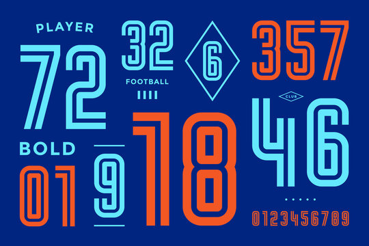 Numbers font. Sport font with numbers and numeric