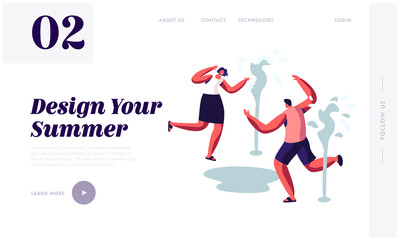 Happy People Splashing and Playing with Water in Hot Summer Time Season Weather. Running near Fountains. Leisure, Summertime. Website Landing Page, Web Page. Cartoon Flat Vector Illustration, Banner