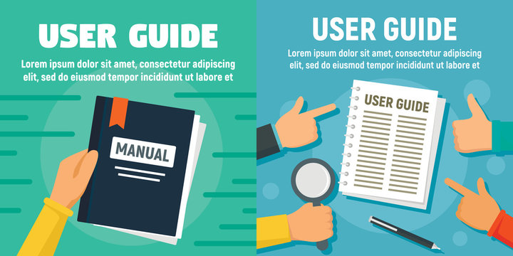 Modern user guide banner set. Flat illustration of modern user guide vector banner set for web design