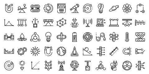 Physics icons set. Outline set of physics vector icons for web design isolated on white background