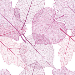 Seamless pattern with pink leaves. Vector illustration, EPS 10.