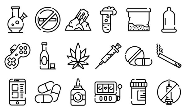 Addiction icons set. Outline set of addiction vector icons for web design isolated on white background
