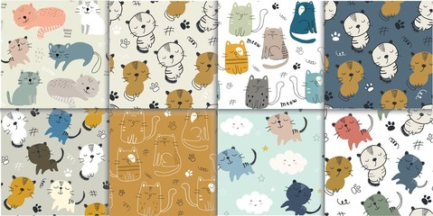 set of seamless pattern with cute cats. childish vector illustration for textile,fabric