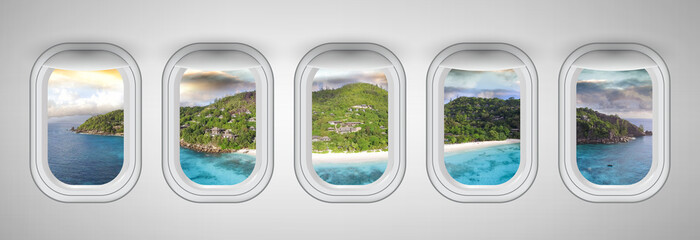 Seychelles at sunset as seen through five aircraft windows. Holiday and travel concept Fototapete