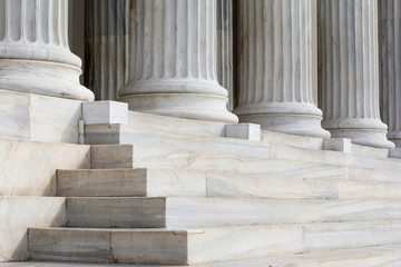 Architectural detail of marble steps and ionic order columns Fototapete