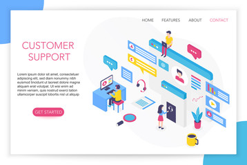 Customer support concept. Contact us. FAQ. Hotline chat consultant Helpdesk talking. Call center concept 3d isometric website landing page template vector illustration.